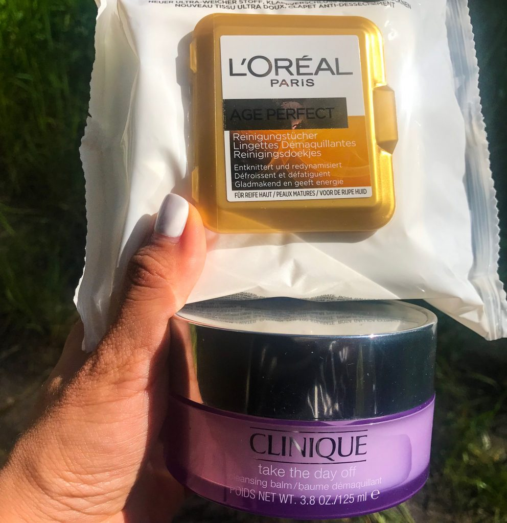 Clinique take the day off cleansing balm and L'Oreal Paris Age Perfect